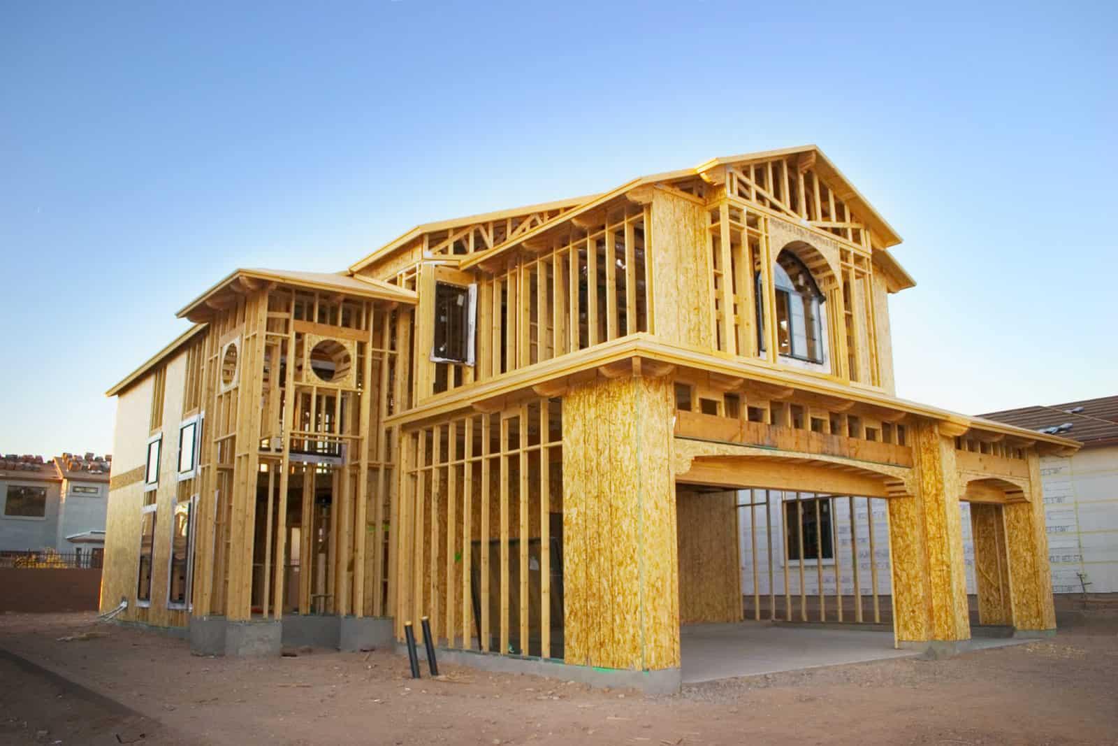 Framed house under construction