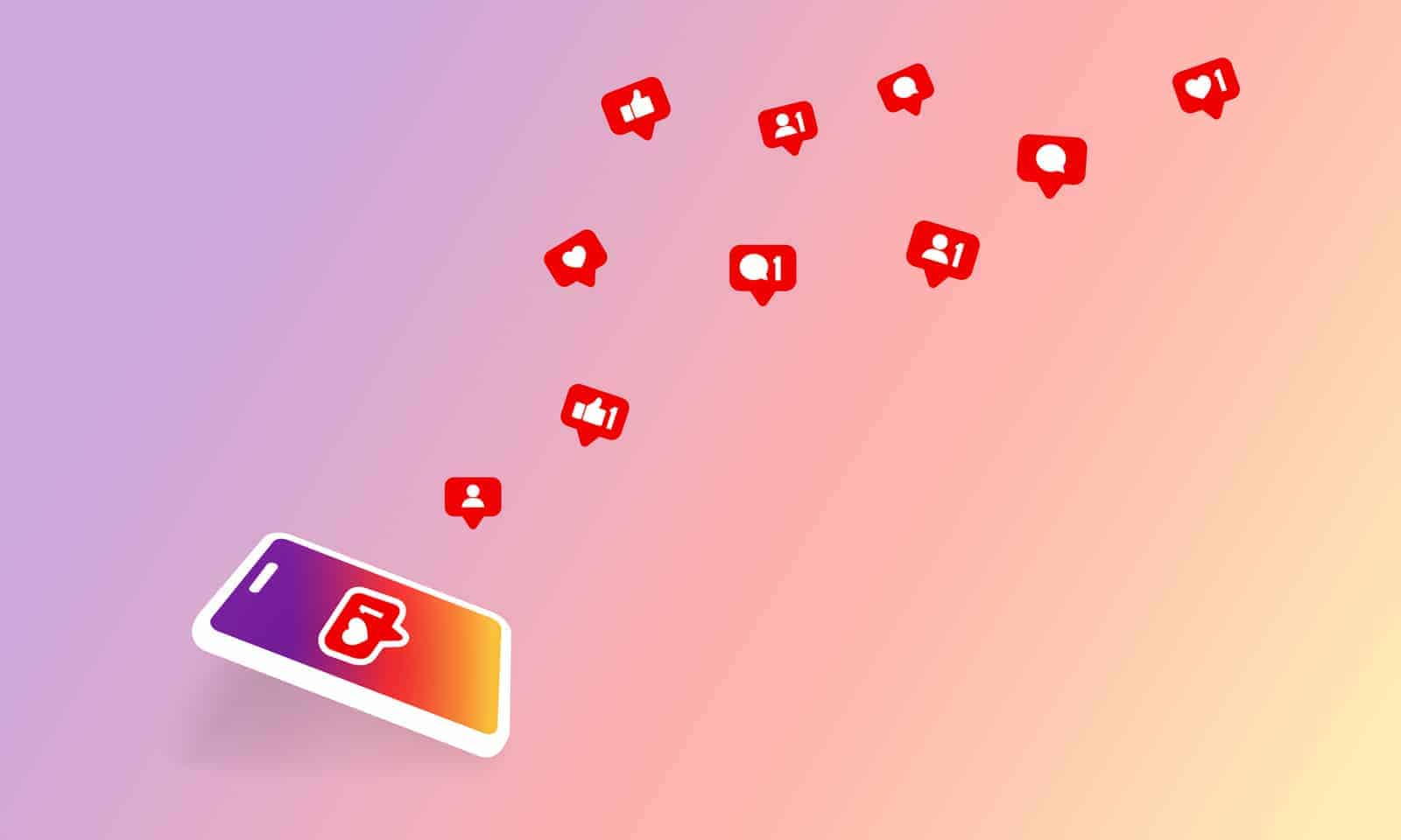Social media notification icon. Follow, like, new comments symbol. Social networking. Vector on isolated background.