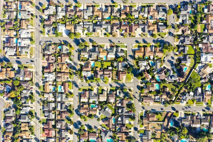 California suburbs from a drone point of view.